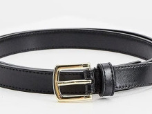 LA MARTINA leather belt with metal buckle and gold brand logo, 100% co
