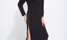 Long black knitted dress ladies clothing-Wholesale