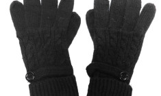 119 pair Black knitted women gloves with button