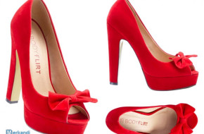 Buty damskie Peep Toe Pumps Red High Heels Remnants